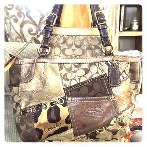 💕 Coach brown gold medium satchel purse cute 💕
